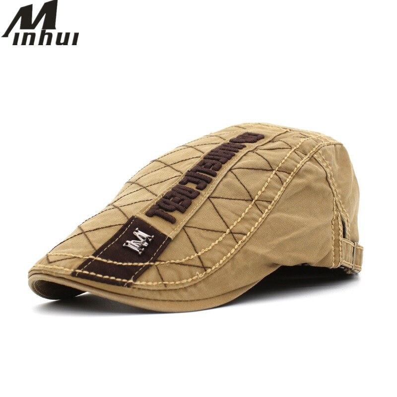 100% QualitäT Minhui Neue Baumwolle Baskenmütze Buchstaben Stickerei Hüte Boina Gorras Flache Kappe Hut Für Männer Frauen Kunden Zuerst