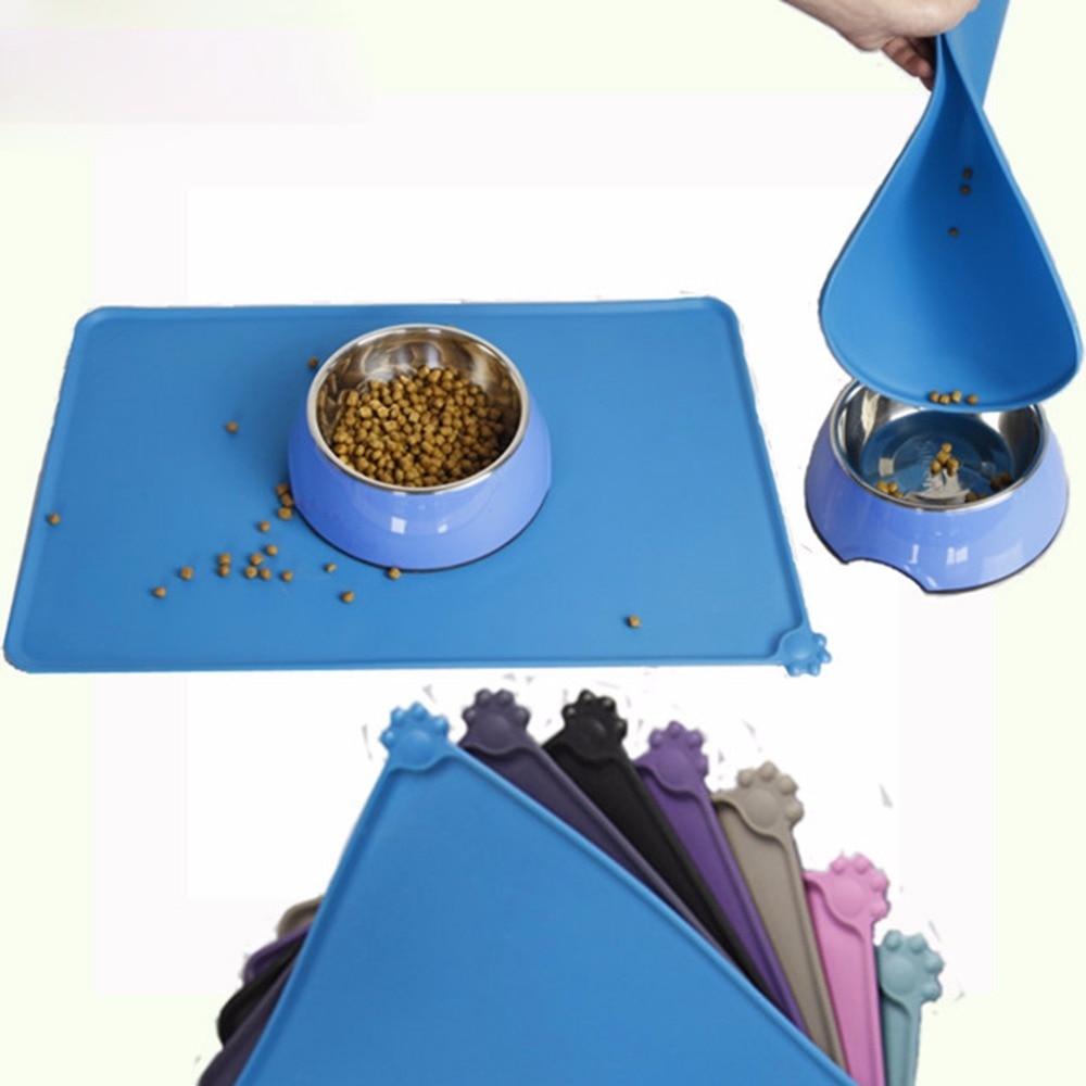 Kitnewer Pet Bowl Mat Dog Feeding Mat Waterproof Silicone