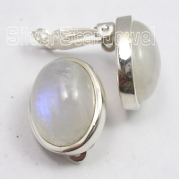 Chanti International Silver Beautiful RAINBOW MOONSTONE CLIP ON Earrings 1.8 CM HANDMADE