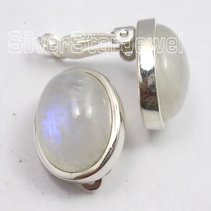 Chanti International Silver Beautiful RAINBOW MOONSTONE CLIP ON Earrings 1.8 CM HANDMADE