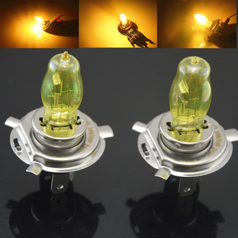 2pcs H4 100W 12V Yellow 3000k Halogen Car Head Light Globes Bulbs Lamp Fog Light Quartz Glass Car Light Auto Lamp H1 H3 H7 H11 2pcs h4 30w 3000lm warm white light car head light