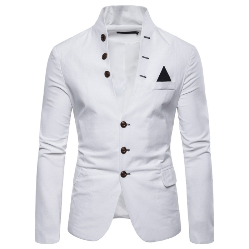 Men's Blazer Spring Stand Collar Button Decoration Slim Design Sense Suit Jacket High Quality Casual Solid Color Men's Suit Coat