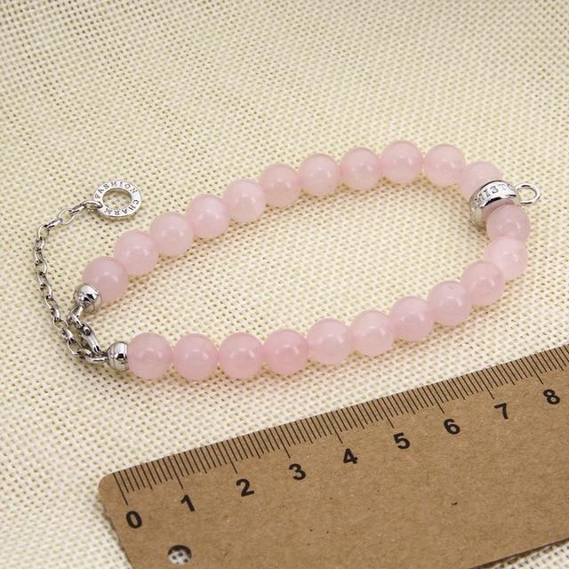 Женский браслет с жемчужинами thomas розовый кварцевый кристалл