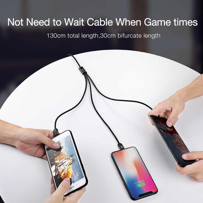 Cafele Led Licht 3 In 1 Usb-oplaadkabel Micro Usb Type C Kabel Voor Huawei Iphone Xr Xiaomi Samsung 130 Cm Data Sync Usb Draad
