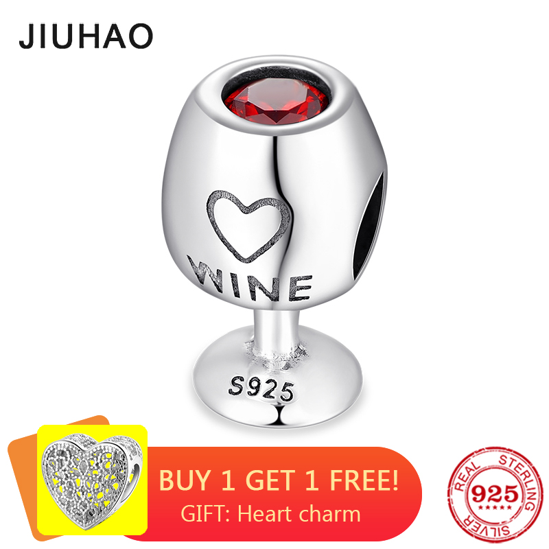 2018 Fashion 925 Sterling Silver Bright Red CZ Wine Cup Fine Beads Fit Original Pandora Charm Bracelet Jewelry Making