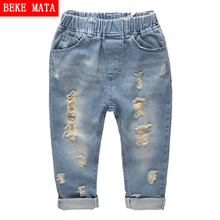 Children Jeans For Boys Winter 2016 Casual Solid Hole Elastic Waist Boys Jeans Fashion Warm Kids Jeans Denim Boys Pant For 1-12Y