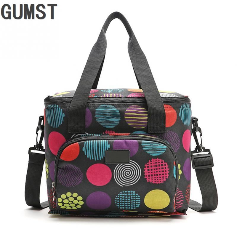 New Oxford Double Layer Cooler Lunch Bag Printed Insulated Thermal Food Picnic Handbag Portable Shoulder Lunch Box Tote