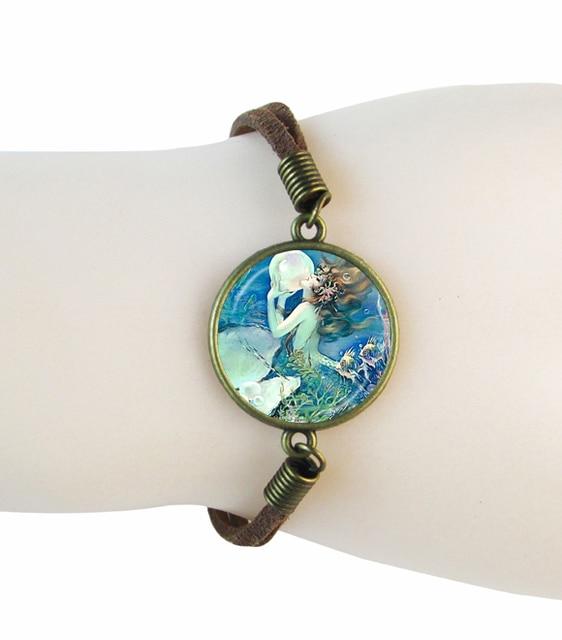 Fashion Jewelry Mermaid Bracelets Gl Cabochon Suede Leather Bracelet Men Friendship Handmade Wonderful Gifts