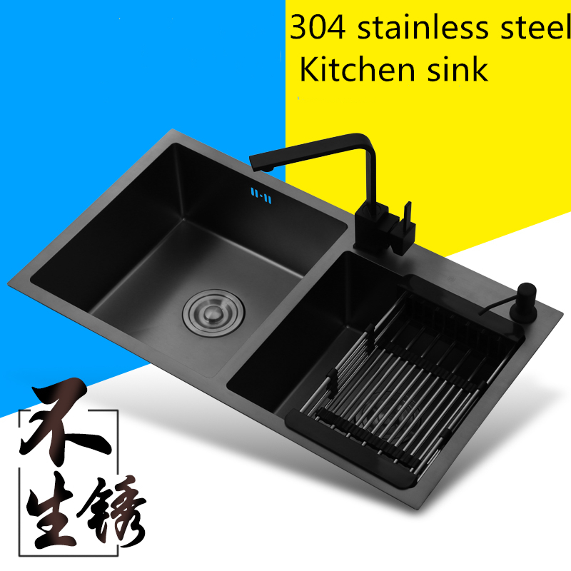 304 Stainless Steel Kitchen Double Sinks Brushed Drawing Drainer Deck Mounted Home Undermount Multifunctional Kitchen Sink Black