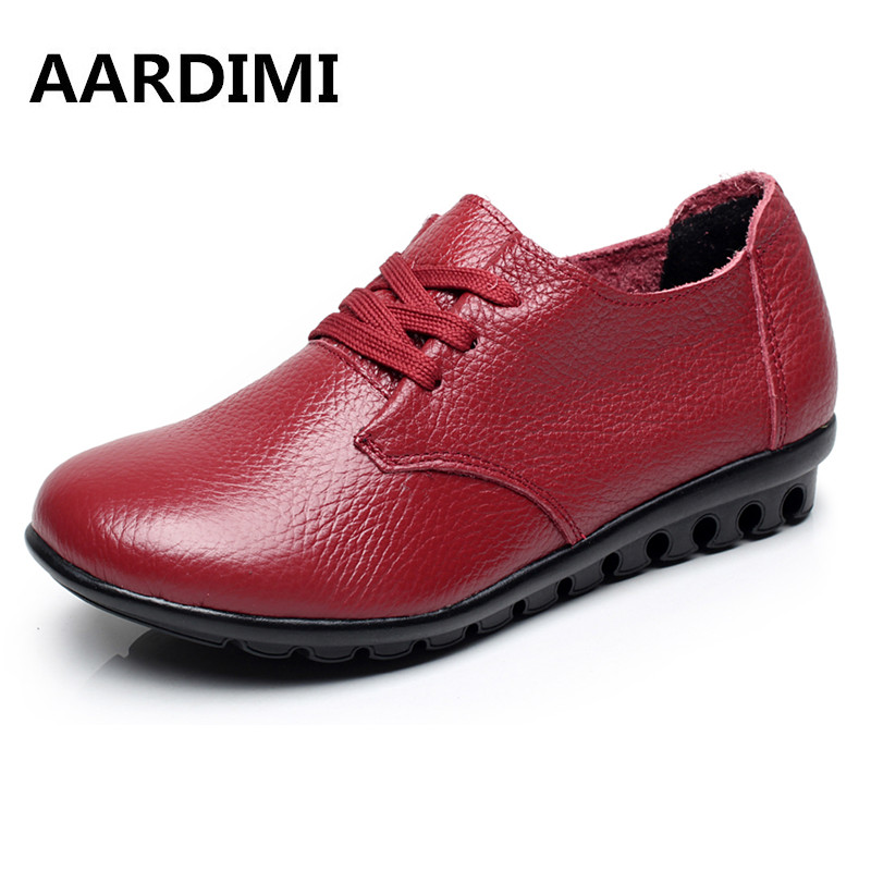New 2017 Top Quality Genuine Leather Women Shoes Spring Lace Up Round Toe Solid Women Flats