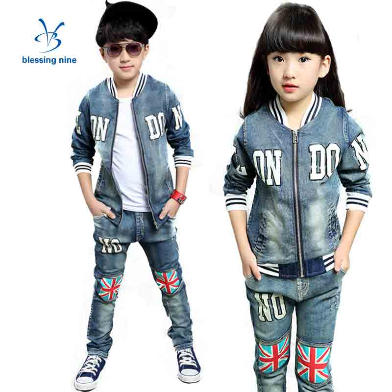 Kids Girls Clothes Sets 8 10 12Years Children Clothing Boys Set Autumn Set Outfits 2017 Spring Suit Letters Denim Jacket + Jeans children clothing sets for teenage boys and girls camouflage sports clothing spring autumn kids clothes suit 4 6 8 10 12 14 year