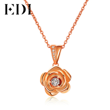 EDI Trendy 3mm Round Cut Moissanite Diamond Pendant For Women Soild 14k Gold Necklace Chain Beauty and The Beast Fine Jewelry
