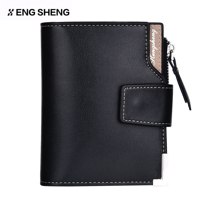 461b3cd4f6a5 HENGSHEGN New Sale Men Short Wallets Leather Brand Credit Card Holders Men  Purse Chain Luxury Male