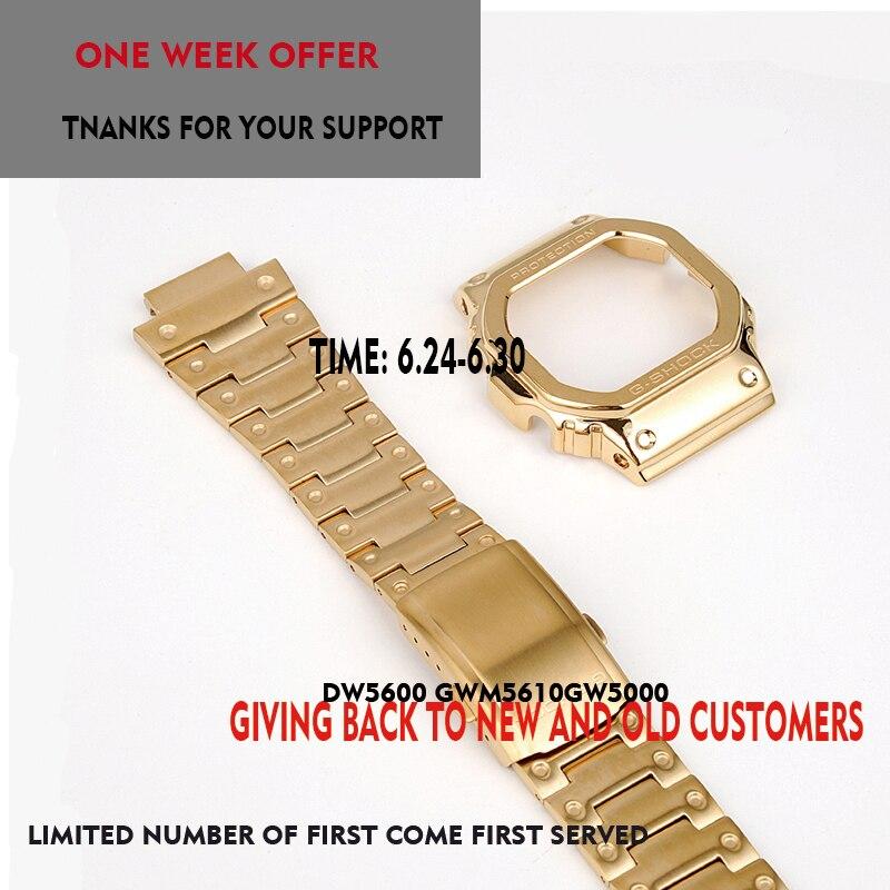 Bracelet et étui pour Casio DW5600 GWM-B5000 GW-M5610 bracelet métallique lunette en acier inoxydable boîte à outils cadre gshock