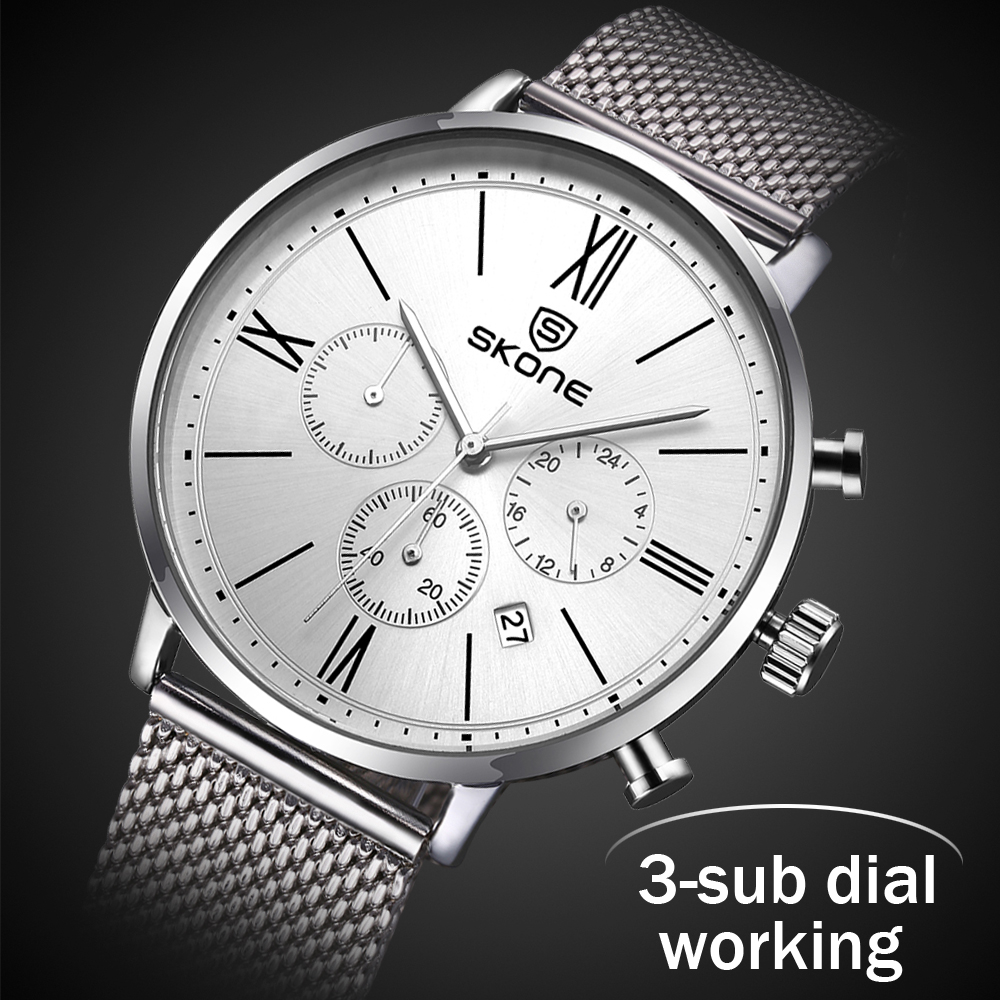 Functional Chronograph Ultra Slim Top Skone Brand Quartz Watch Men Casual Business JAPAN Analog Watch Men Relogio Masculino 2018 new ultra slim golden top crrju brand quartz watch men casual business japan analog watch men relogio masculino with gift box