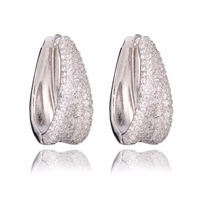 GrayBirds New Hoop Earring 33*14mm Imitation Rhodium Plated With AAA Cubic Zirconia Best Gift For Girl Friend Or Sister XYE046