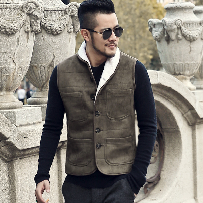 Fur Vest Men Vest Sleeveless Jackets Homme Warm Autumn Waistcoat Winter Cotton Padded Mens Gilet