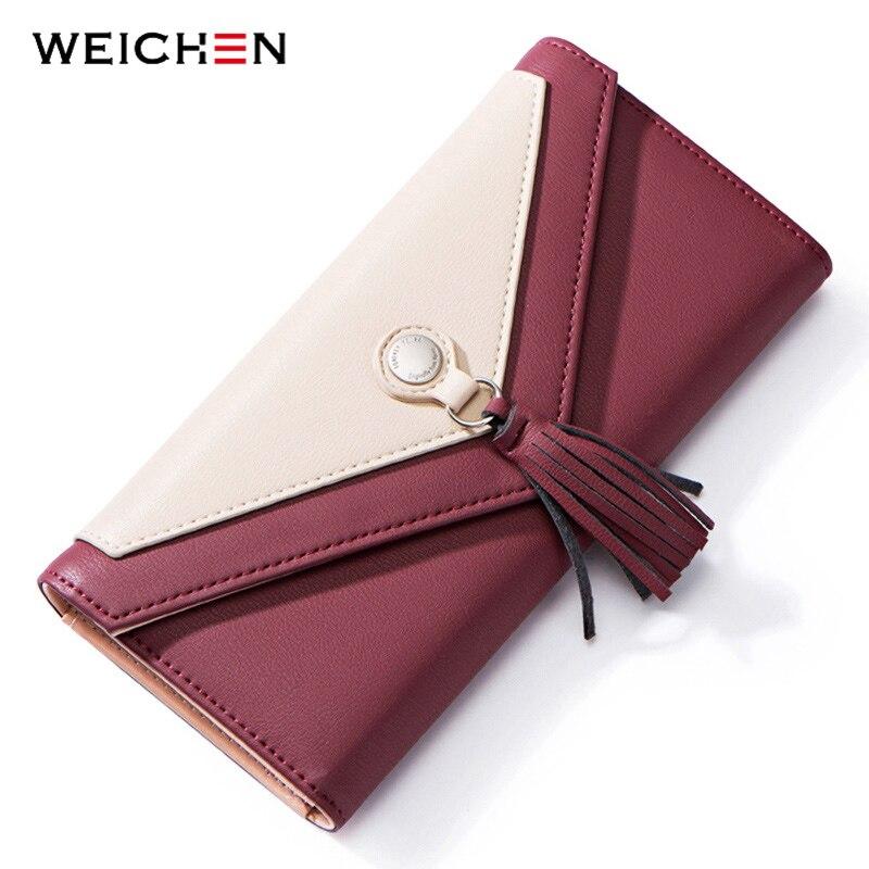 WEICHEN Tassel Envelope Women Wallet Brand Designer Red Leather Female Wallets Ladies Purse Long Card Holder