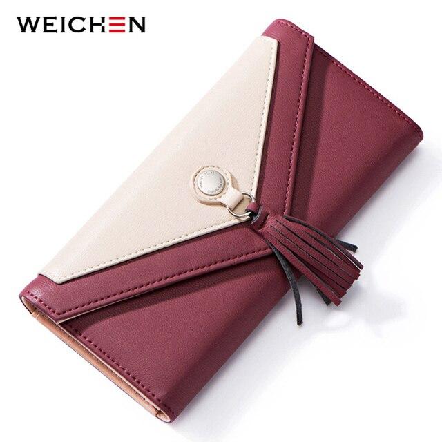 WEICHEN Tassel Envelope Women Wallet Brand Designer Red Leather Female Wallets Ladies Purse Long Card Holder Clutch Carteira NEW