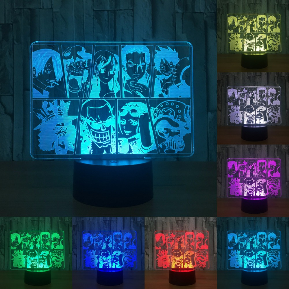 One Piece Team Night Light Luffy Sanji Zoro Nami 3D Illusion Table Lamp Color Changing Luminaria Touch Lights IY803187