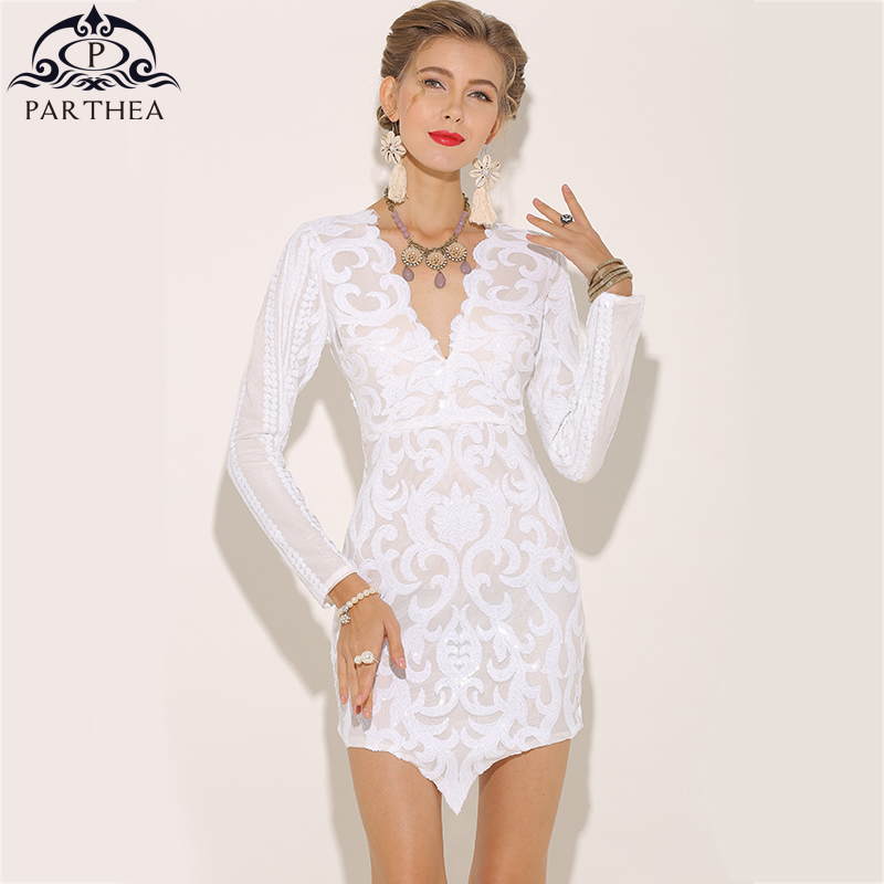 b4a550b429 ... Party  low priced 33620 e56f1 Parthea Long Sleeve V neck Sexy Women  Sequin Dress White Winter Dresses ...