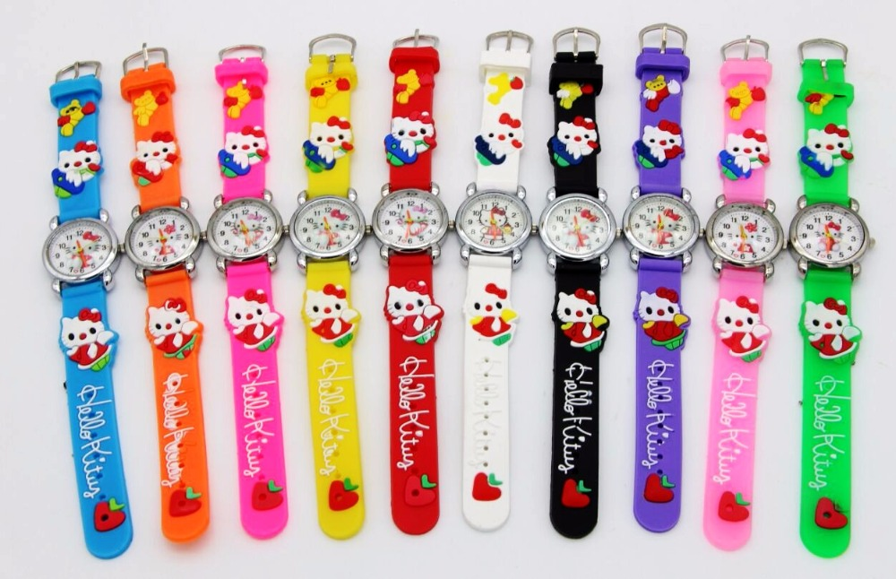 NEW 10pcs/lot Cute hello kitty Watch,Cartoon Children 3D kids gift students watches fashion cute cartoon pu band students watch