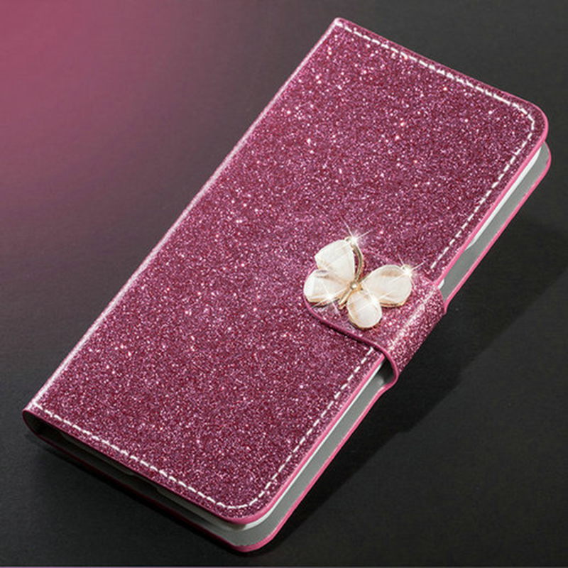 Luxury Glitter Diamond Leather Case For Meizu M5 Note M5S Wallet Original Flip Cover For Meizu M5 Note M5S-in Half-wrapped Cases from Cellphones & Telecommunications
