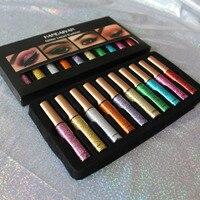 2018 Nova HANDAIYAN Glitter Cores Kit Beleza Cosméticos Delineador Liner Gel À Prova D' Água Líquido Eye Liner Make Up10PCS Vermelho Prata