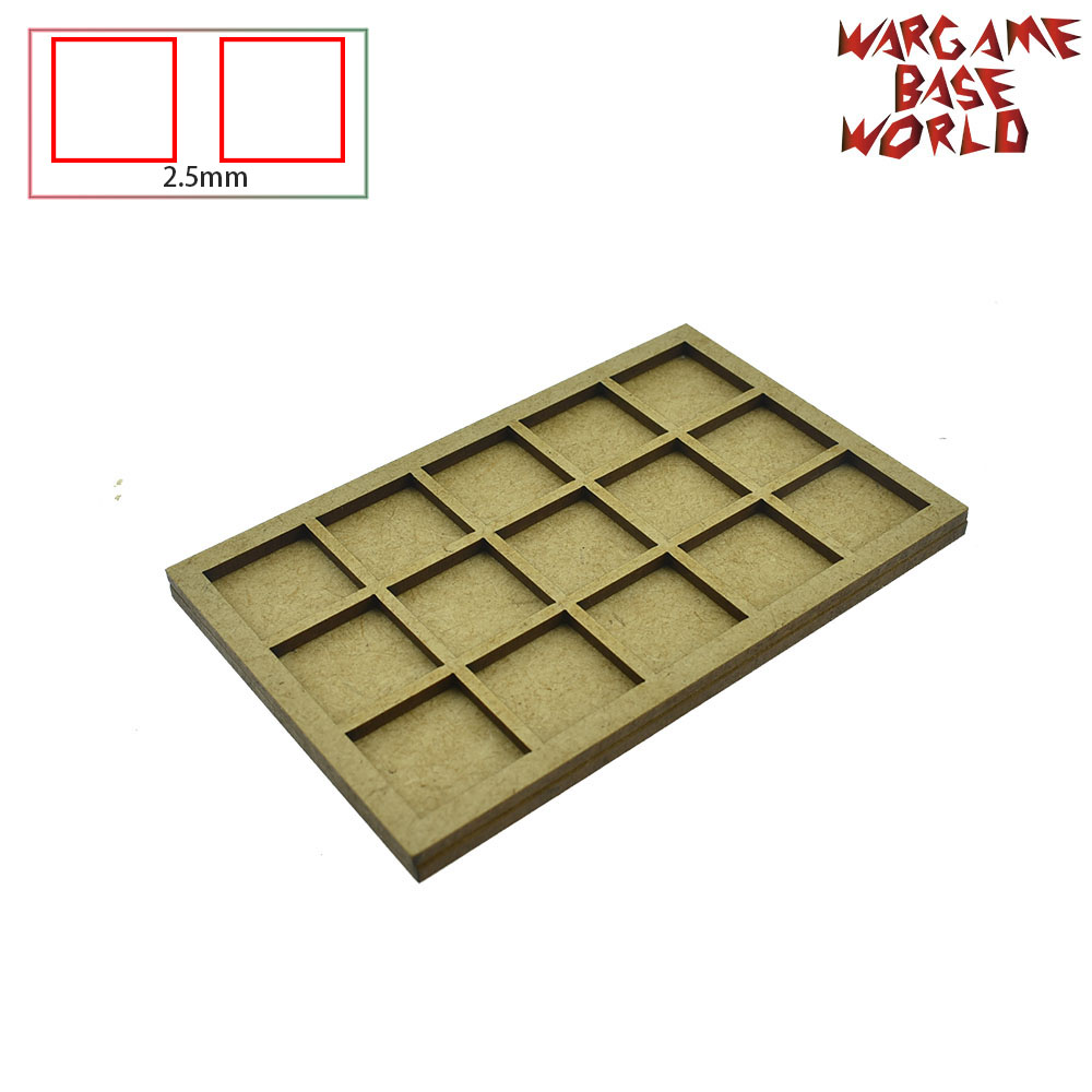 Wargame Base World - Movement Tray -10/15/20 20mm square bases - MDF Laser Cut