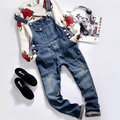 2016 Spring Autumn Fashion Casual Men's 100% Cotton Blue Ripped Slim Bibpants , Man Stylish Jumpsuits And Overalls , Men Rompers