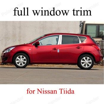 Car Styling Full Set Stainless Steel Window Decoration Strips Moldings Trim Fit For  N-issan T-iida