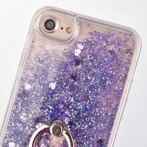 Image 2 - Caso de anel para apple iphone 5 5S se 6s 7 8 plus x xs xr xs max 5se s glitter líquido dinâmico titular macio volta telefone capa coque