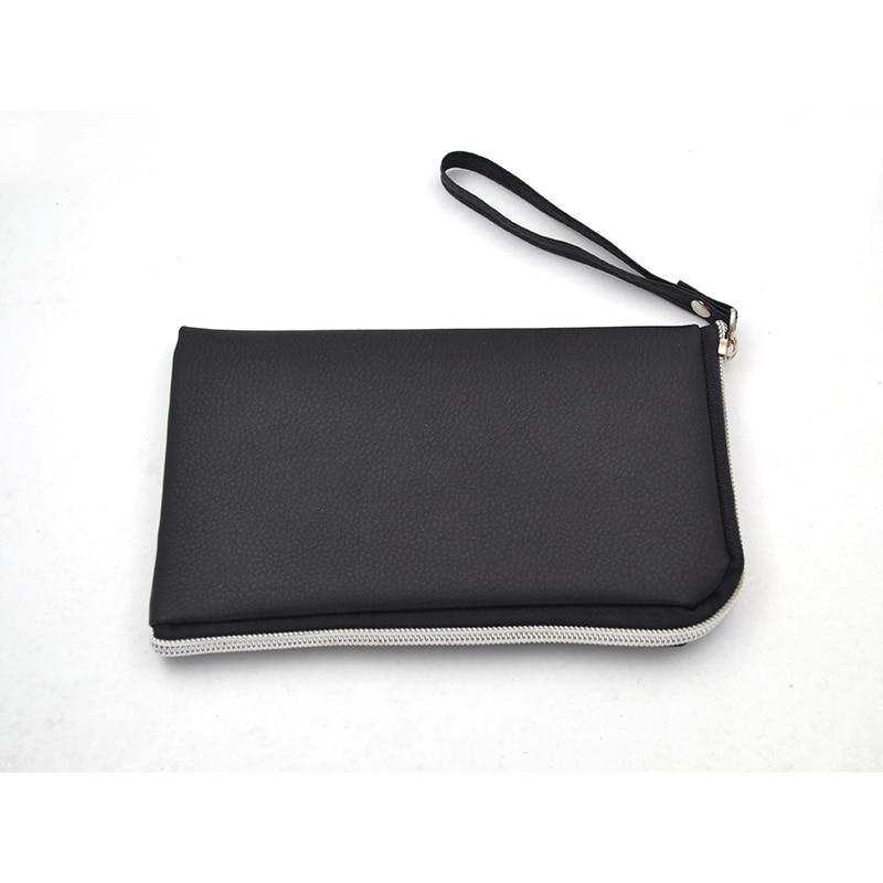 185mm*118mm PU Multifunction Sunglasses Case Multi-pocket Black Mobile phone Bank card Hand Bag Zipper Glasses Pouch L3