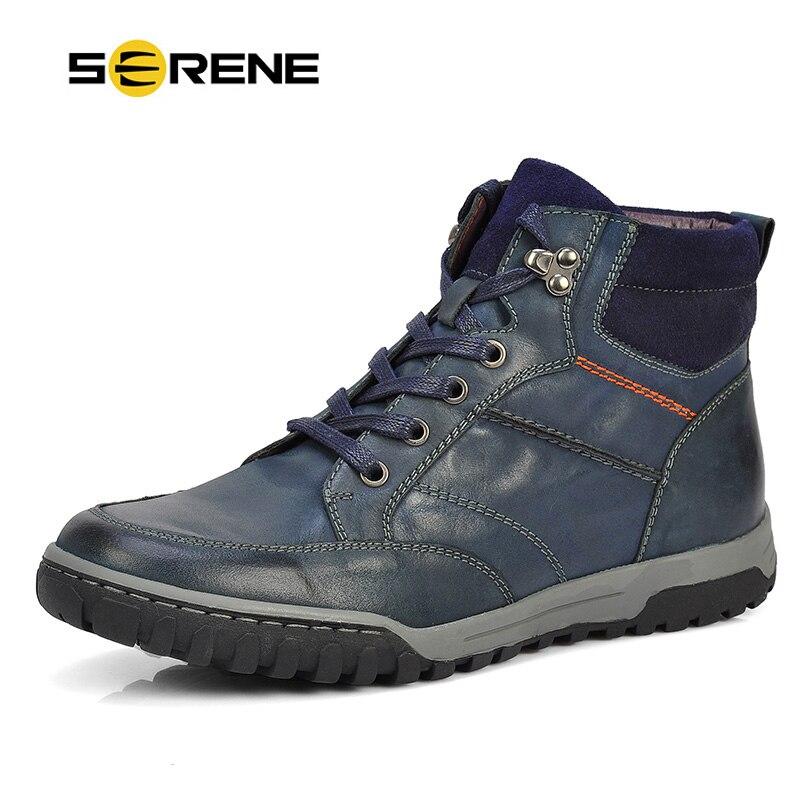 Безмятежное бренд Мужские ботинки плюс Размеры 39-46 кожаные ботильоны Кружево на шнуровке Повседневная Одежда высшего качества корова Сапоги и ботинки для девочек русский Стиль зима Мужская обувь