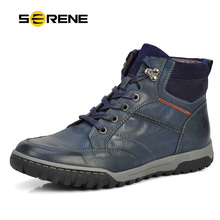 serene  men boots  39~46 leather ankle boots lace-up casuals top quality cow boots russian style winter men shoes