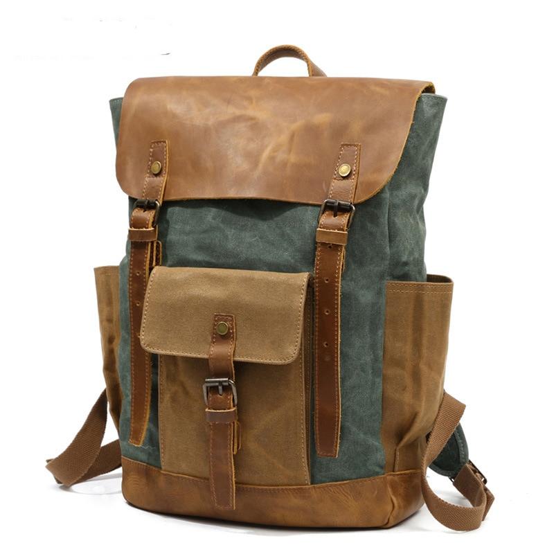 Retro Contrast Oil Wax Waterproof Canvas Bag Travel Backpack Computer Schoolbag Large Capacity Women Backpack 9
