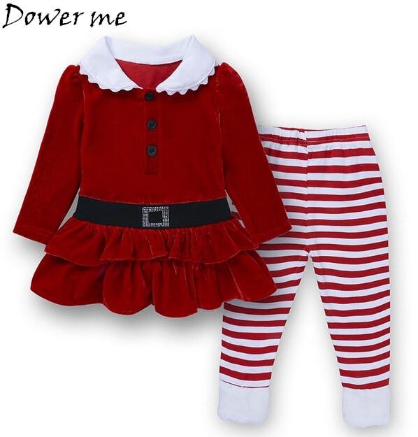 Wholesale Autumn Girls Boutique Christmas Outfits 2Pcs Red Corduroy Santa Claus Child Set Toddler Girl Clothes Set Kids Suit