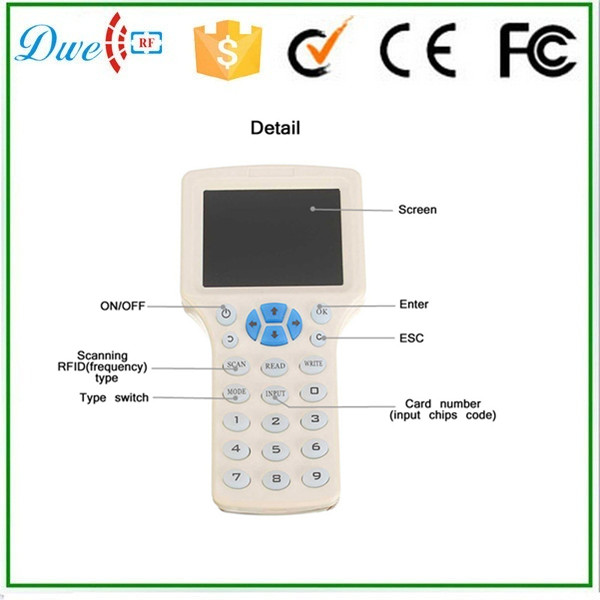 DWE CC RF T5577 EM4300 rfid Key duplicator card reader writer 125khz free shipping waterproof proxi rfid reader 125khz smart card reader rfid reader rfid duplicator duplicator key