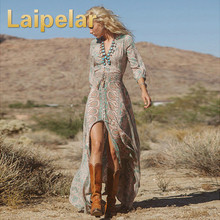 Купить с кэшбэком Laipelar New Fashion Women Summer Boho Print Chiffon V-neck Party Evening Beach Dresses Long Maxi Dress Sundress