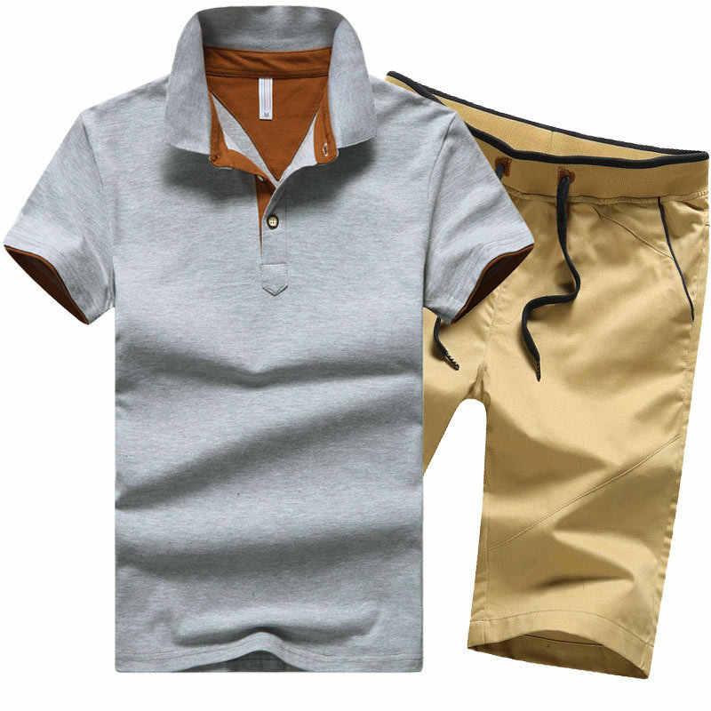 男ポロシャツセット綿 95% 夏白グレー海軍黒人男性品質半袖膝丈ポロシャツショーツスーツ
