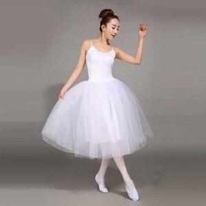 Image 5 - Dorosły romantyczny baletowa spódniczka Tutu próba spódnica do ćwiczeń łabędź kostium dla kobiet długi tiul sukienka biały różowy czarny kolor balet nosić