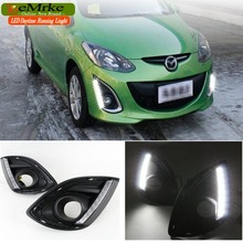 eeMrke Car LED DRL For Mazda2 2012 2013 2014 2015 Xenon White DRL Fog Cover Daytime Running Lights Kits