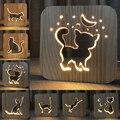 Lâmpada de madeira animal bonito kawaii gato lâmpada 3d usb led mesa interruptor luz controle escultura em madeira lâmpada para decoração do quarto das crianças