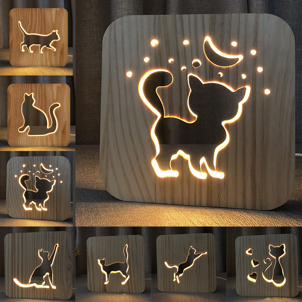 Wooden Lamp Animal Cute kawaii Cat Lamp 3D USB LED Table Light Switch Control Wood Carving Lamp for kids's Room Decoration