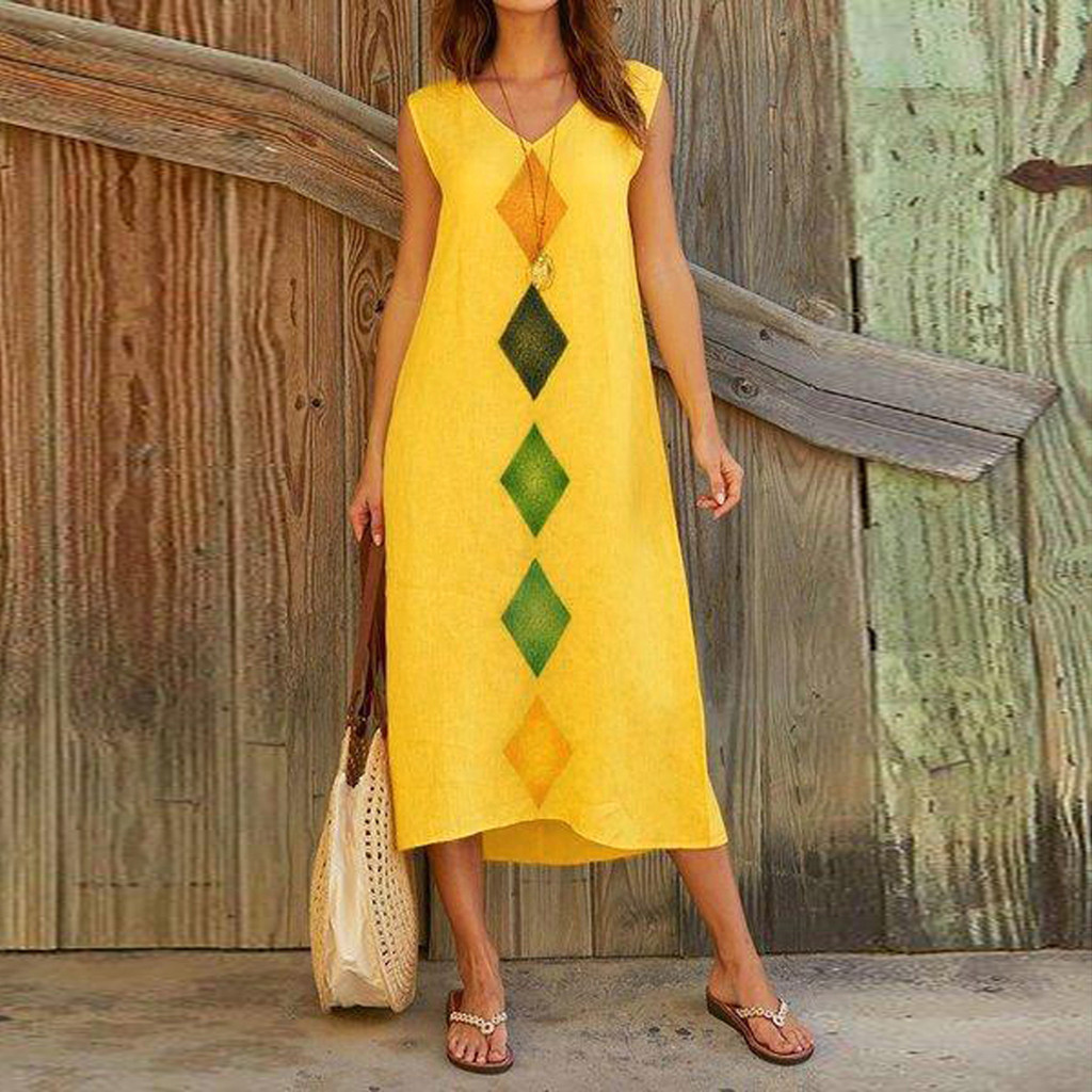 Girl dress Women Summer Sleeveless V Neck Cotton Linen Printed Casual Long Maxi Beach Dress Women Off Shoulder Party Vestidos#5