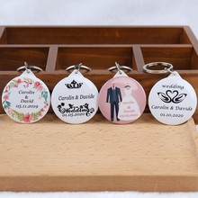 30PC Custom DIY Personalize Keychain with Mirror Bride Groom Name Date Engrave bridal Wedding Party Gift Favor Souvenirs Guest(China)