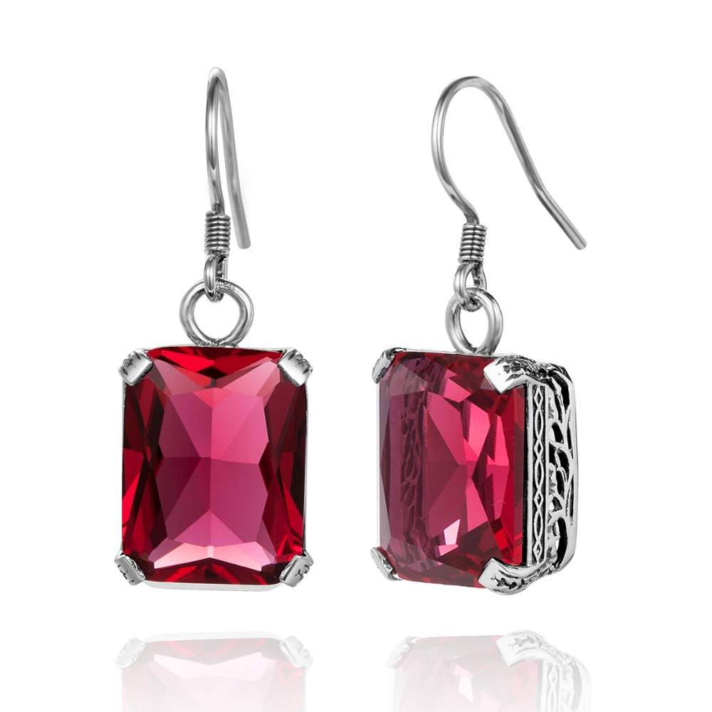 Szjinao Authentic 100% 925 Sterling Silver Earrings Fashion Women Fashion  Vintage Red Crystal Earrings Costume Jewelry Boho