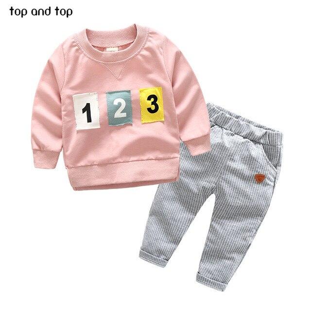 Top en Top Baby Jongens Meisjes Kleding Sets Patch Brief T Shirt + Streep Broek 2 stks/set Pasgeboren Jongen Lente Herfst Kleding pak