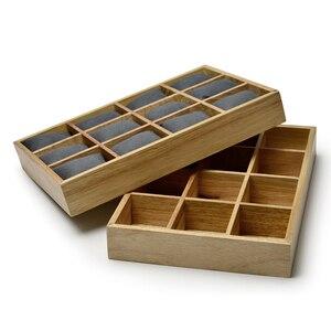 Image 5 - FANXI vassoio espositore per gioielli in legno con cuscini in microfibra 12 griglie per esposizione orologio da polso organizzatore allingrosso