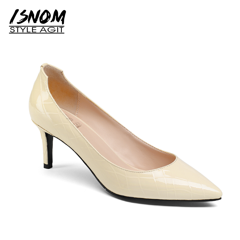 ISNOM Thin High Heels Women Pumps 2018 Office Spring Fashion Ladies Shoes Pointed Toe Slip On Shallow Genuine Leather Footwear new 2017 spring summer women shoes pointed toe high quality brand fashion womens flats ladies plus size 41 sweet flock t179